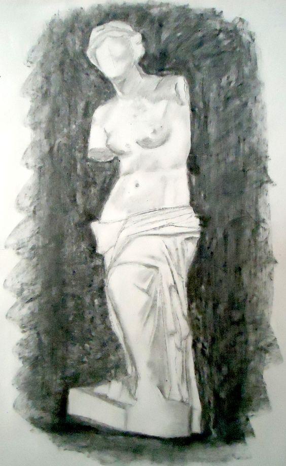 La imagen de un dibujo en carboncillo de una escultura es ...