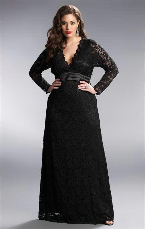 Darius Long Sleeve Lace Evening Dresses Black Lace Gowns Plus Size Evening Gown Plus Size Black Dresses Bridesmaid Dresses Plus Size