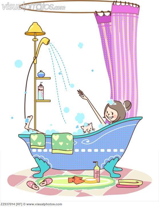 Niña tomando un baño con su gatito