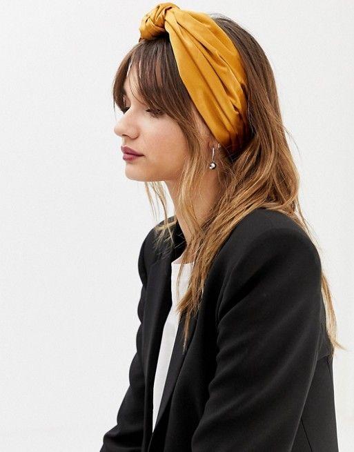 Headband Green Gold Striped Silky Feel Fabric Extra Wide Kerchief