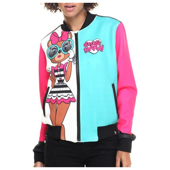 cici bear bomber jacket by Cupcake Mafia ($99) ❤ liked on Polyvore featuring outerwear, jackets, blouson jacket, bomber jacket, flight jacket, blue jackets and bear jacket