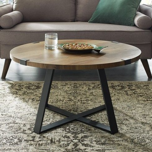 30 Metal Wrap Round Coffee Table Rustic Oak Black Saracina Home