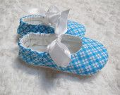 Soft sole shoes: Baby girl shoes in sweet blue and white argyle in infant and toddler sizes, mary jane style with satin ribbon ties