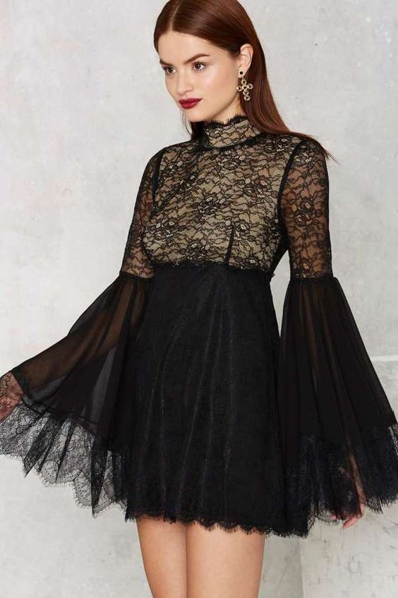 Too late to buy for Valentines day, but be inspired to wear something like this Nasty Gal hi-neck software lace dress from ShopStyle