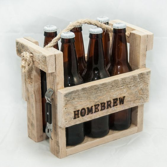 bier caddy six pack halter bier tote rustikale geschenke. Black Bedroom Furniture Sets. Home Design Ideas