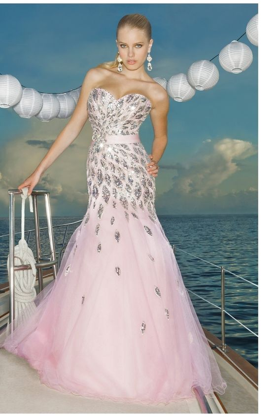 2012 Collection Sweetheart Mermaid/Trumpet Floor Length Tulle Prom Dresses