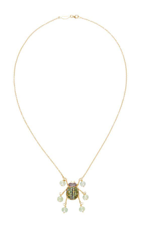 Rumbera necklace by DANIELA VILLEGAS - black diamonds, tourmaline, phrenite beads on 18k yellow gold.