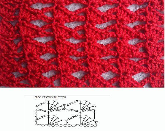 Semi shell crochet stitch