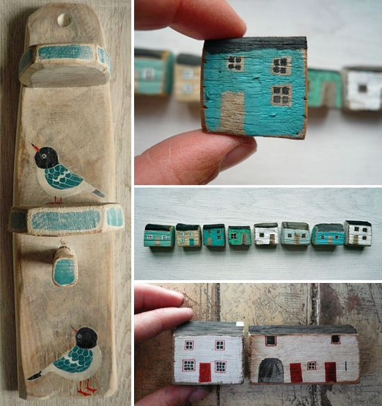 Love these painted houses and wooden accessories by Valériane Leblond. http://www.valeriane-leblond.eu/home.html