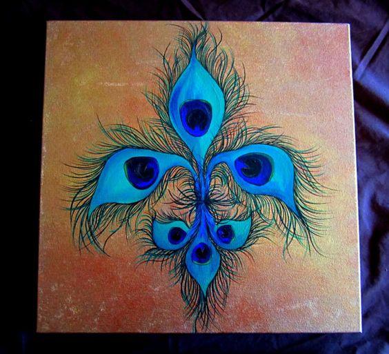 Peacock Fleur De Lis by ColorMeBadd on Etsy, $55.00