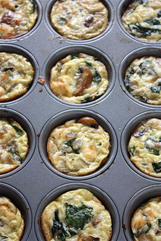 Mushroom Spinach and Mozzarella Mini Crustless Quiches