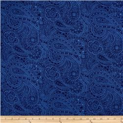 """108"""" Wide Quilt Back Chelsea Dot Paisley Navy"""