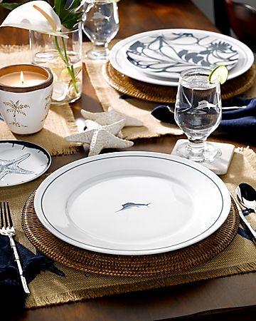 Sea inspired table settings