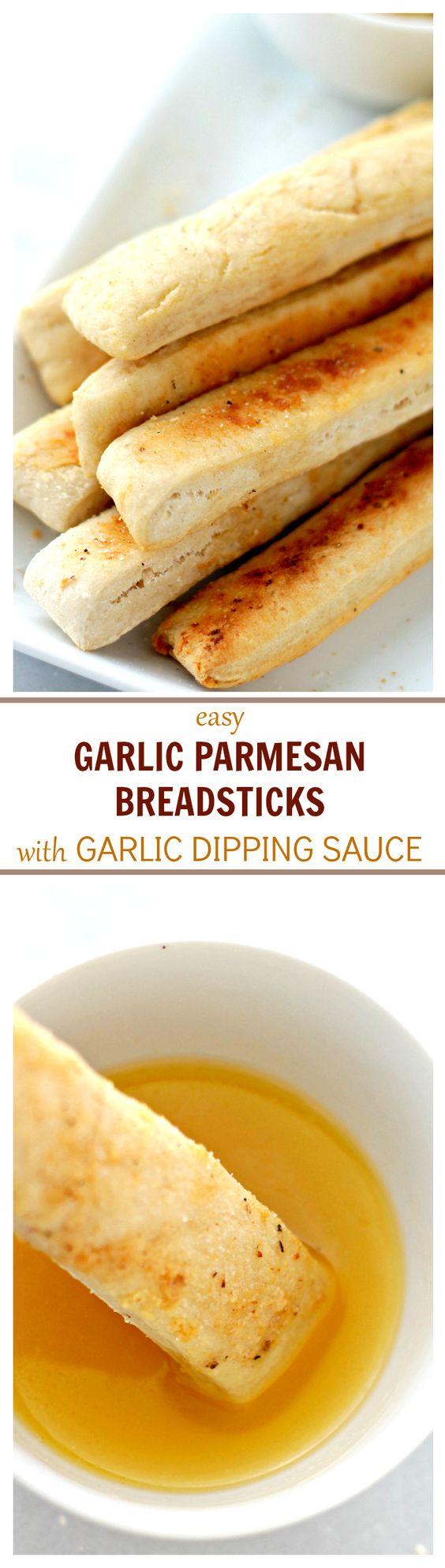 Easy Garlic Parmesan Breadsticks with Garlic Dipping Sauce   www ...
