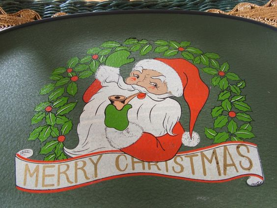 Vintage Smoking Santa Tray Merry Christmas by lookonmytreasures on Etsy