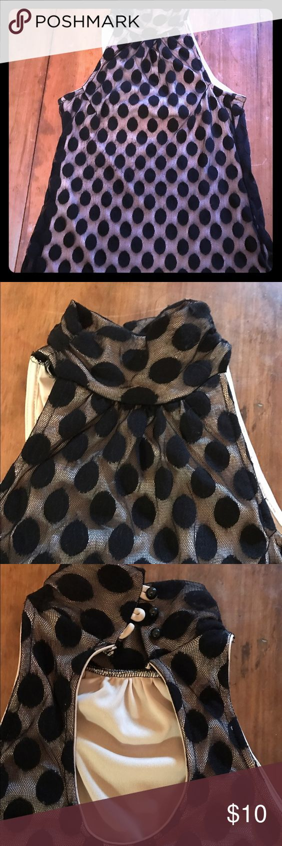 Formal/casual black polka dot top size S Perfect top to tuck into high waisted pants/elegant skirt for upcoming holidays parties or for date night with nice jeans. Worn once for a homecoming party Tops Blouses