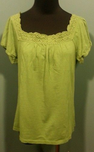 Ann Taylor LOFT Chartreuse Green Lace Trimmed Square Neck Knit Top Size M $12 Free Shipping!