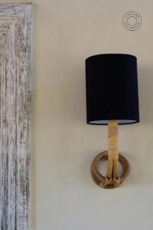 Organic Cane Wall Sconce With Linen Shade Linen Shades Sconces Wall Sconces