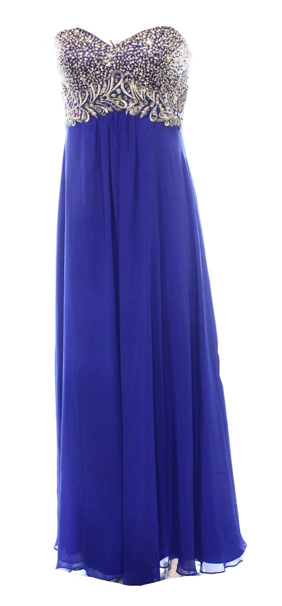 Decode 1.8 NEW Blue Embellished Sweetheart Womens 8 Empire Waist Dress $229