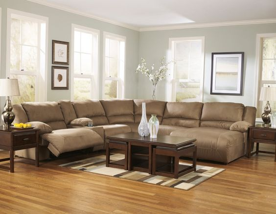 "The plush comfort and stylish contemporary design of the ""Hogan-Mocha"" upholstery collection is the perfect addition to the living room that you have been dreaming about."