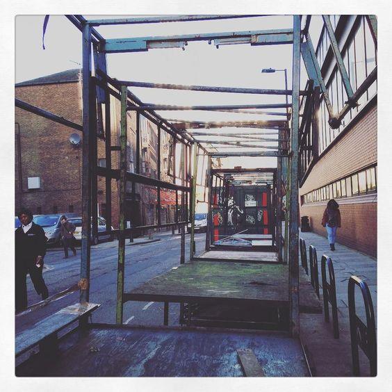 Abandoned market stalls at Petticoat Lane Market.