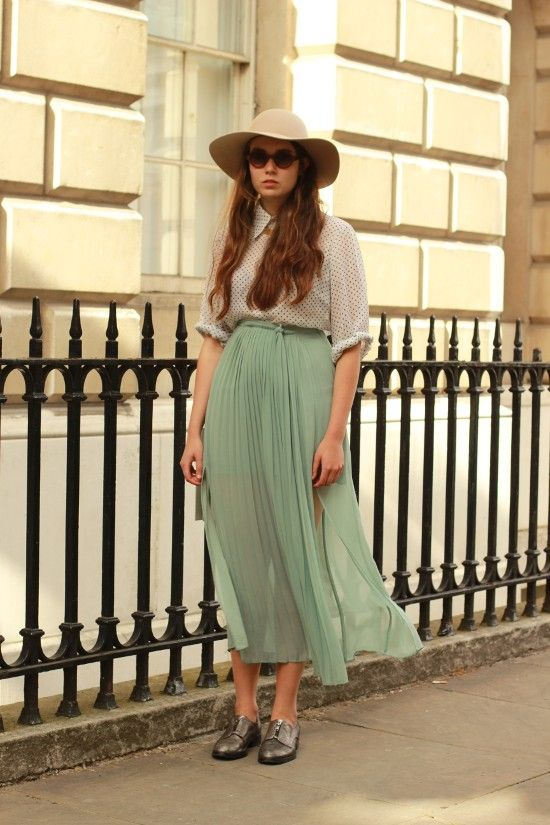 mint long skirt