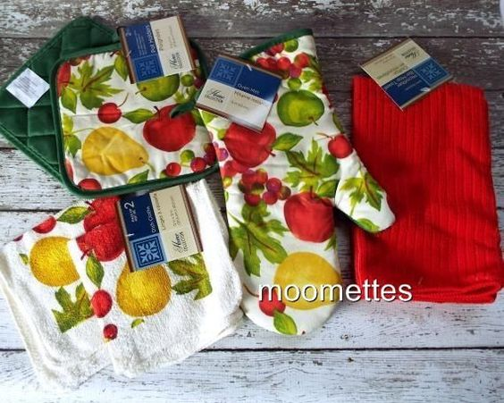 Fruit Collection 6pc Kitchen Linen Set Oven Mitt Dishtowel Pot Holders Green #HomeCollection