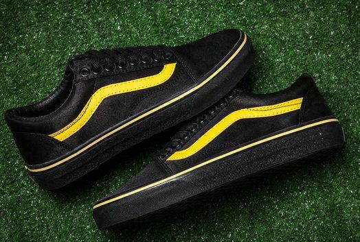 Vans Satin Old Skool Black Yellow Skate Vans For Sale Vans Old Skool Black Vans Vans Old Skool Sneaker