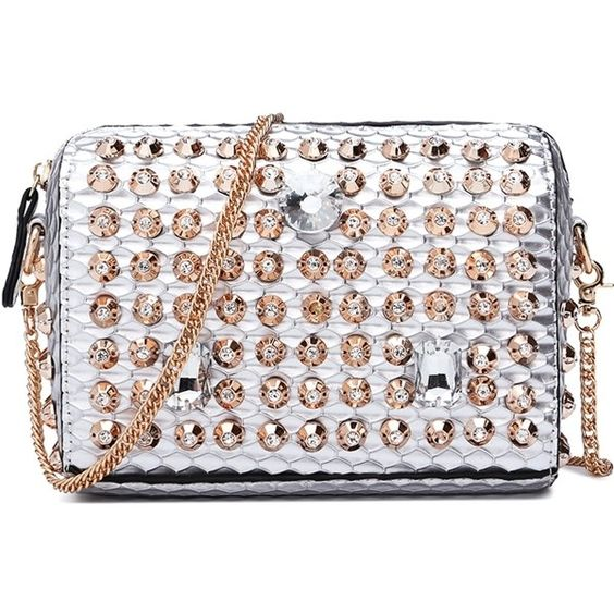Rhinestones Chain Zipper Crossbody Bag (¥3,290) ❤ liked on Polyvore featuring bags, handbags, shoulder bags, zip purse, rhinestone cross body purse, chain crossbody purse, crossbody purse and rhinestone studded handbags