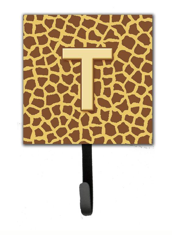 Letter T Initial Monogram - Giraffe Leash Holder or Key Hook