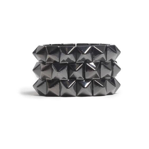 Pyramid Stud Elastic Bracelet! $19.95 Buy this bracelet at: http://www.dailylook.com/c/11-2011-3-Royal-Blue-Pants-Leath-Jacket/1/177.html