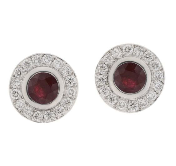 Classic round ruby and diamond halo earrings main view