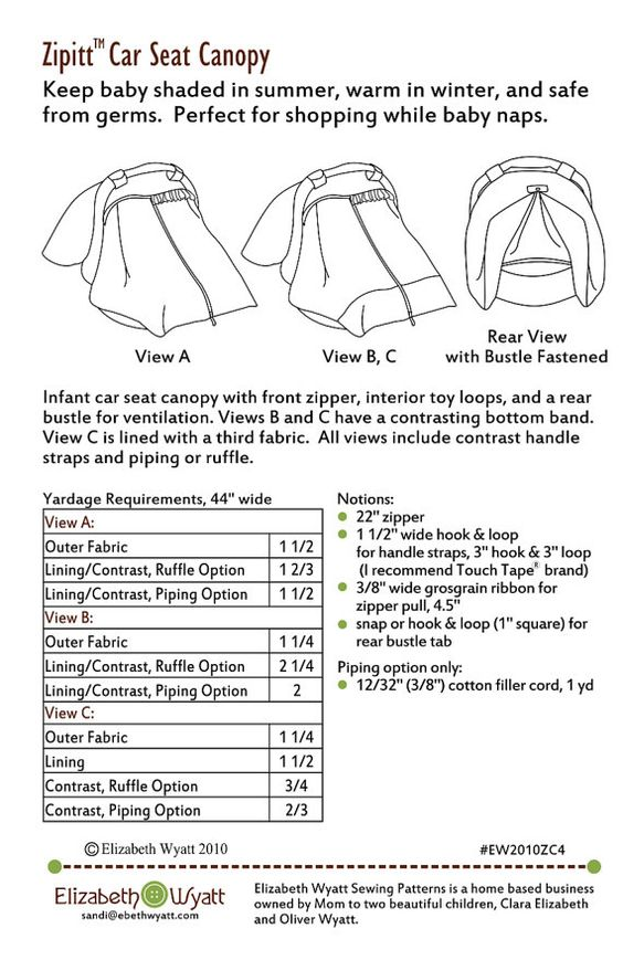 Zipitt Car Seat Canopy Sewing Pattern Fits All Baby Car