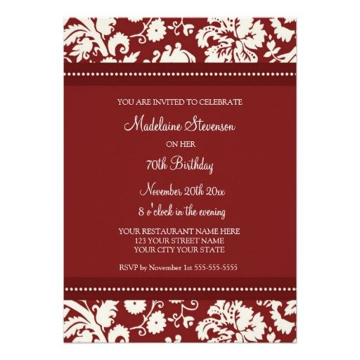 Red Damask 70th Birthday Party Invitations