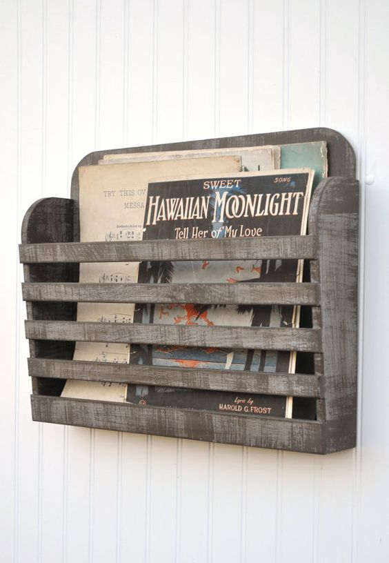 Distressed Magazine File Menu Holder Rustic Dark Gray Grey Brown Graphite Vintage Design Storage Organizer Antiqued