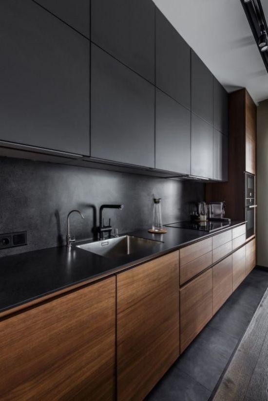 Ultra Minimalist Kitchen With Sleek Black And Rich Stained Cabinets Minimalist Kitchen Design Modern Kitchen Interiors Kitchen Room Design