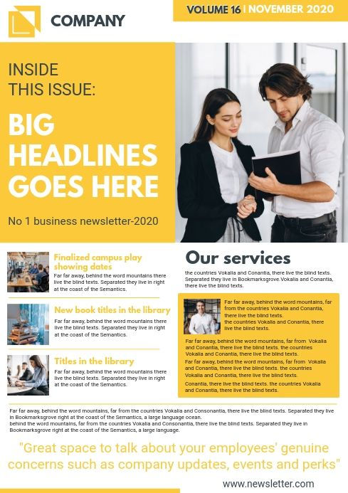 Yellow Custom Newsletter Page Template Newsletter Templates Newsletter Design Templates Business Newsletter Design
