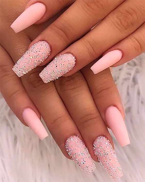 60 Gorgeous Glitter Acrylic Coffin Nails Designs Pink Nails Coffin Nails Designs Glitter Nails Acrylic