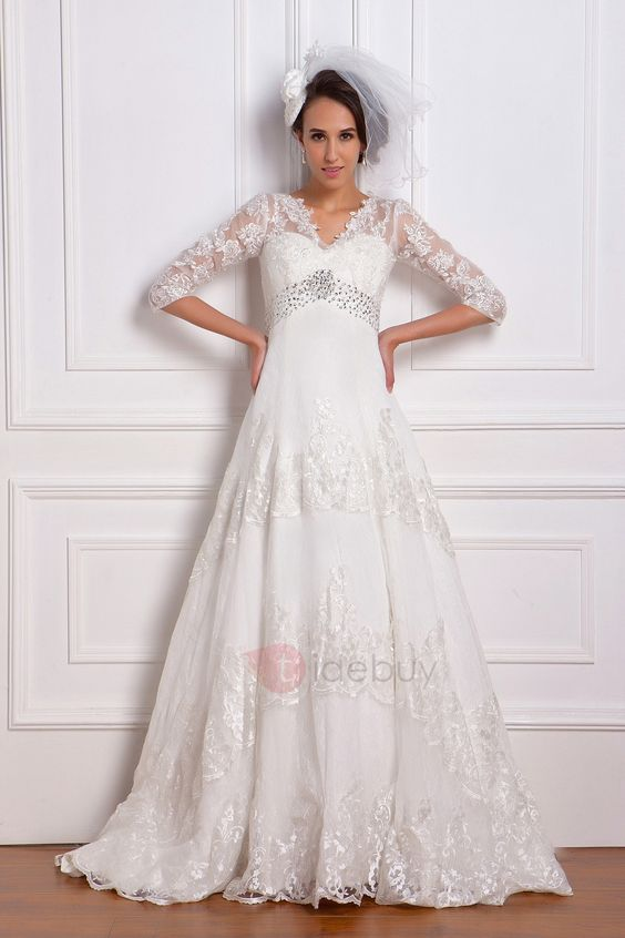 Tidebuy.com Offers High Quality  Empire 3/4-Length Sleeve V-neck Lace Renata's Wedding Dress , We have more styles for Plus Size Wedding Dresses