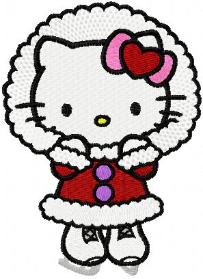 hello kitty christmas   Hello Kitty Winter skating machine embroidery design