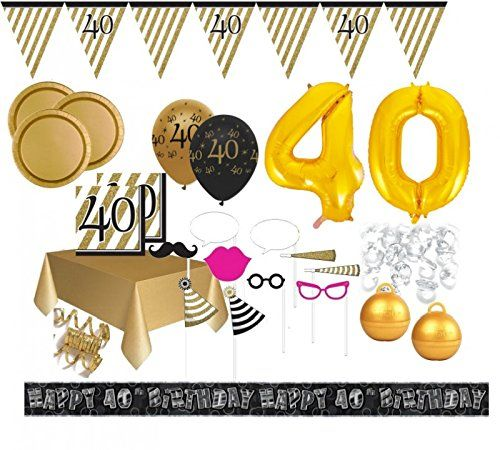 Xxl Mega 106 Teile Set Zum 40 Geburtstag Party Deko In Schwarz