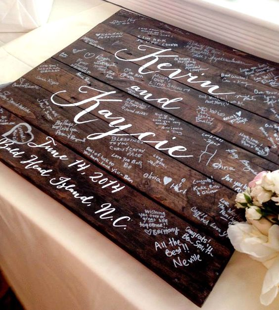 Custom Wedding Guestbook Wood Sign | A unique detail for your special day, this gorgeous wood guest... | Wedding Ceremony Supplies