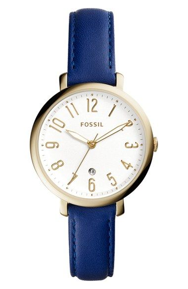 Fossil 'Jacqueline' Leather Strap Watch, 36mm: