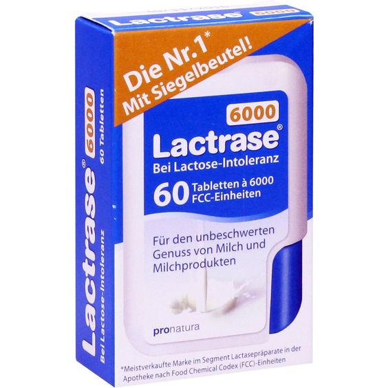 LACTRASE 6.000 FCC Tabletten im Klickspender:   Packungsinhalt: 60 St Tabletten PZN: 10950122 Hersteller: Pro Natura Gesellschaft für…