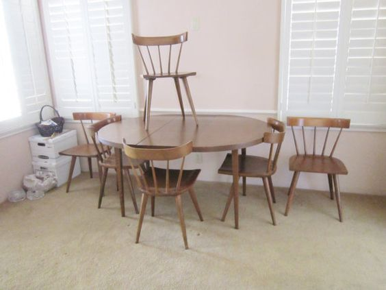 Paul McCobb Planner Group 6 chairs & Dining Table w/ 2 leaves Winchendon Mid Century Modern