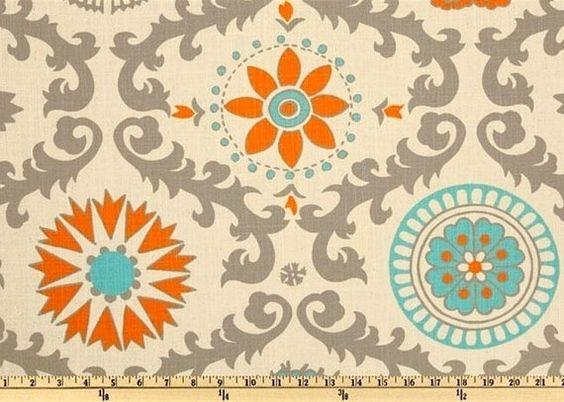 1 Yard Orange and Turquoise Premier Prints Rosa Dossett