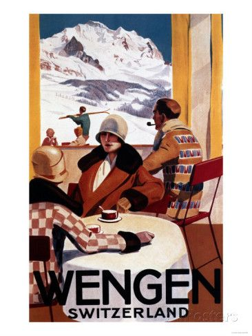Wengen, Switzerland - The Downhill Club Promotional Poster Impressão artística