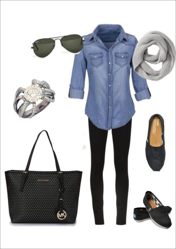 denim shirt, gray infinity scarf, aviators, dark flats, leggings:
