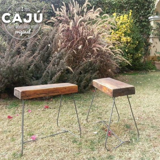 Banquetas rusticas realizadas con tirantes de madera reciclados y ...