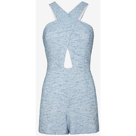 Jay Godfrey Lurex Tweed Romper (175 AUD) ❤ liked on Polyvore featuring jumpsuits, rompers, jay godfrey, playsuit romper, blue rompers, blue romper and cut out romper